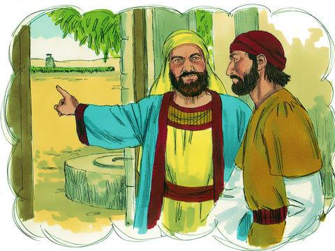 Parabole du maître de la vigne. La vigne représente le peuple de Dieu, la nation d'Israël, qui doit produire de bons fruits. Les vignerons symbolisent les chefs religieux juifs (entre autres les pharisiens).