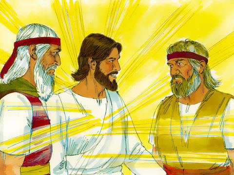 Moïse et Elie apparaissent aux côtés de Jésus lors de sa transfiguration, vision de sa gloire céleste, devant les yeux ébahis de Pierre, Jean et Jacques.