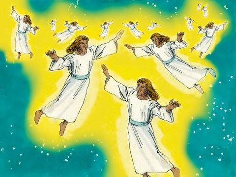Tout à coup, une foule d'anges de l'armée céleste se joignent à l'ange pour glorifier Dieu en s'exclamant : «Gloire à Dieu dans les lieux très hauts, paix sur la terre et bienveillance parmi les hommes!»