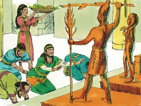 Les idoles ne sont qu'un morceau de bois ou de métal. La Bible condamne l'idolâtrie. Le prophète Jérémie explique que l'idole fabriquée de la main de l'homme avec une hache, des clous et des marteaux est incapable de faire du bien.