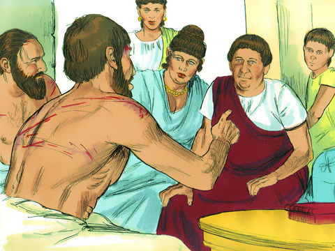 Après le tremblement de terre qui a ébranlé la prison et qui a entraîné l'ouverture de toutes le portes de la prison, le gardien et sa famille se convertissent au christianisme.
