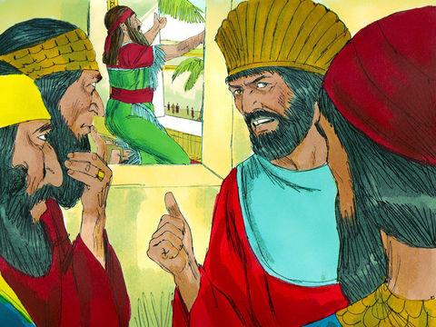 Les satrapes et les responsables jaloux de Daniel ont établi un décret irrévocable punissant de mort celui qui adresserait des prières à quelqu'un d'autre que le roi Darius.