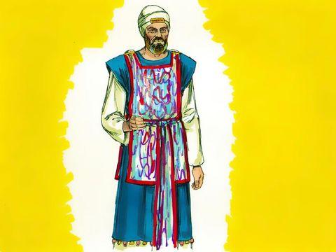 Le grand prêtre porte des vêtements sacerdotaux en lin, il est le seul autorisé à pénétrer dans le très saint et à voir l'arche de l'alliance une fois par an.