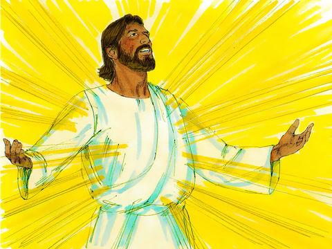 Lors de sa transfiguration, Jésus a donné un aperçu de sa gloire céleste. Le visage de Jésus resplendit comme le soleil et ses vêtements sont d'une blancheur éclatante et éblouissants comme la lumière.