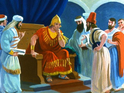 Le roi fait faire une proclamation interdisant aux hommes et aux bêtes de manger ou de boire et les obligeant à porter un sac afin d'éloigner la colère de Jéhovah Dieu et éviter la destruction de la ville de Ninive.