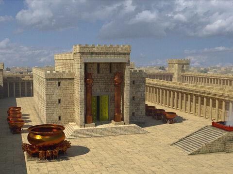 Le roi Salomon a l'immense privilège de bâtir une maison à Jéhovah avec les matériaux les plus beaux et les plus précieux. La construction a duré 7 ans, symbole de plénitude et de perfection. La magnificence du Temple reflète alors la gloire de Jéhovah.
