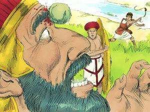 Le Philistin que David doit combattre porte lui-même une cuirasse à écailles de bronze qui pèse 60 kg ainsi qu'une lance pesant 7 kg! Malgré la taille et l'équipement du Philistin, David gagne la bataille avec seulement une fronde et l'une des 5 pierres.