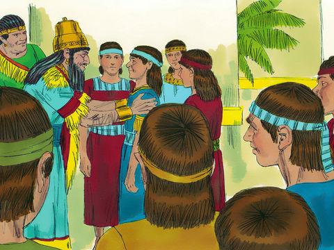 A la fin de la période de formation de 3 ans, les 4 Hébreux sont présentés au roi Nébucadnetsar qui les trouve 10 fois supérieurs en sagesse et en intelligence que les astrologues du royaume.