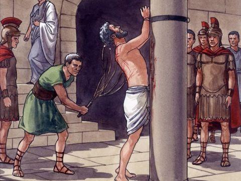 Les chefs des prêtres et les anciens du peuple juif tiennent conseil pour faire mourir Jésus. Ils le livrent à Ponce Pilate, le gouverneur qui le fait fouetter.
