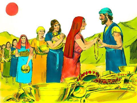 Les Israélites donnent avec générosité, chacun contribuant d'une manière ou d'une autre à l'élaboration du projet. Les quantités de matériaux apportées dépassent alors ce qui est nécessaire à la construction du lieu de culte, le Tabernacle de Jéhovah.