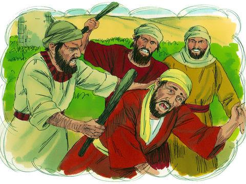 Ces vignerons (chefs religieux juifs), agissant au nom du propriétaire de la vigne (Dieu), sont supposés prendre soin de la vigne (le peuple israélite) pour qu'elle produise de beaux fruits (de belles actions).