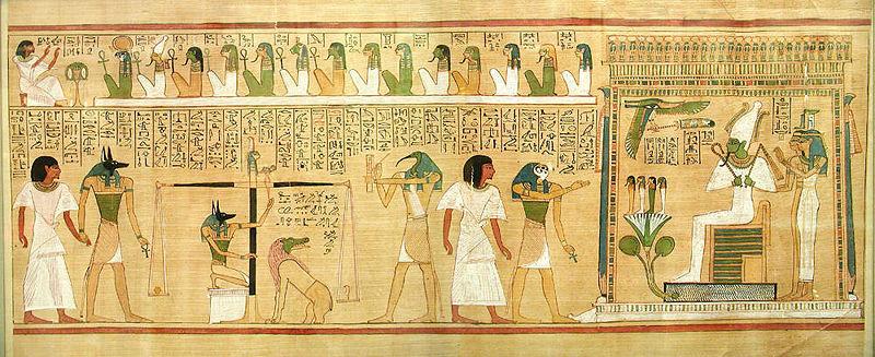 Osiris préside au jugement des morts. La pesée du cœur est surveillée par le dieu à tête de chacal, Anubis, tandis que Thot, le dieu de l'écriture, enregistre le résultat. Anubis place le cœur de la personne sur l'un des plateaux d'une balance. Une plume
