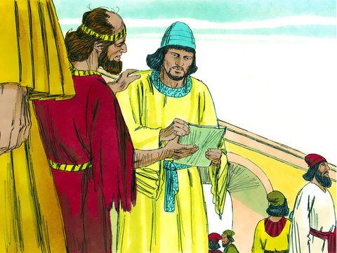 Le gouverneur de la région à l'ouest de l'Euphrate, Thathnaï, envoie un rapport au roi Darius Ier. Les Juifs expliquent qu'ils avaient reçu l'ordre de Cyrus de rebâtir le Temple de Jérusalem. Ils demandent à Darius 1er de chercher ce décret à Ecbatane.