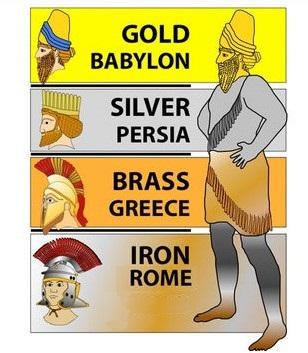 Le roi de Babylone Nébucadnetsar a fait un rêve terrifiant dans lequel une immense statue représentait la succession des puissances mondiales. L'Empire romain est matérialisé par les jambes en fer de la statue. Le fer est solide, dur, froid, rigide.