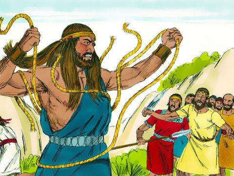 Samson vient de combattre les philistins, il meurt de soif.