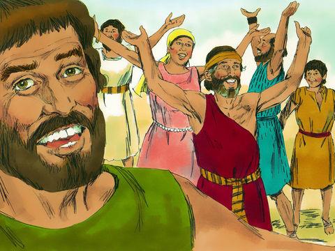 Après avoir traversé miraculeusement la mer rouge, les Israélites exultent de joie.