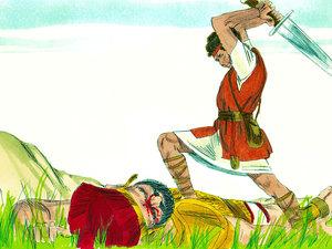Malgré la taille et l'équipement du Philistin, David gagne la bataille avec seulement une fronde et l'une des 5 pierres qu'il avait ramassées. C'est Jéhovah qui décide de l'issue de la bataille. Jéhovah n'a besoin ni d'épées, ni de lances, ni de cuirasses