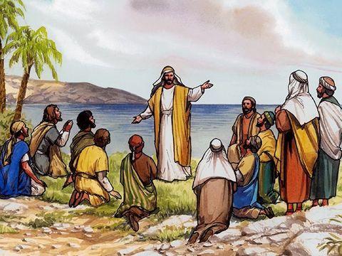 """Peu avant son ascension, les 11 apôtres se sont prosternés devant Jésus. Quand ils le virent, ils se prosternèrent devant lui. Mais quelques-uns eurent des doutes. Jésus leur dit """"Tout pouvoir m'a été donné dans le ciel et sur la terre."""""""