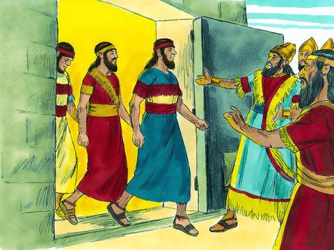 Les 3 Hébreux marchent tranquillement sans la moindre blessure au milieu du feu en compagnie d'un ange. Effrayé, le roi les appelle de l'entrée de la fournaise. «Shadrak, Méshak et Abed-Nego, serviteurs du Dieu très-haut, sortez et venez!»