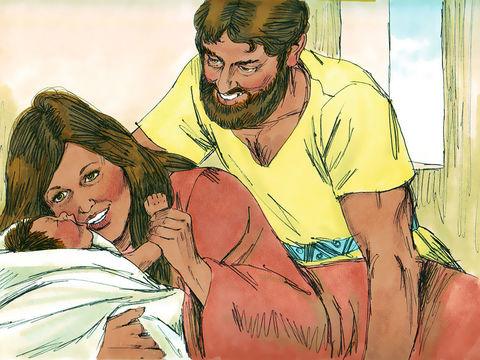 La femme de Manoach qui était stérile, met au monde un fils qu'elle appelle Samson.