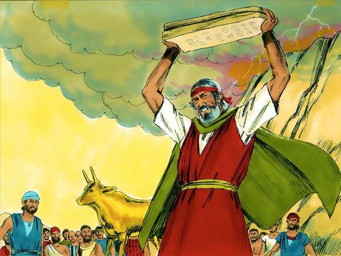 En voyant la conduite immorale des Israélites en train de s'adonner à l'idolâtrie et de se divertir devant le veau d'or, il jette les précieuses tablettes qui se brisent au pied de la montagne. Obéissant aux ordres de Moïse, les Lévites tuent 3000 hommes.