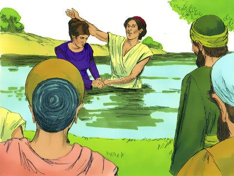 Après avoir été baptisée avec sa famille, elle nous a invités en disant: «Si vous me jugez fidèle au Seigneur, entrez dans ma maison et logez-y», et elle a fortement insisté pour que nous acceptions.