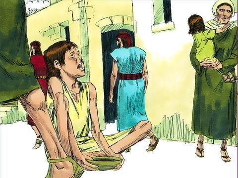 Jérusalem est totalement détruite en 587 av J-C après environ 2 années de siège. La famine est terrible et le roi Sédécias est capturé alors qu'il tente de s'enfuir. Sédécias, le dernier roi de Juda est déporté, enchaîné, à Babylone, ses fils sont égorgés
