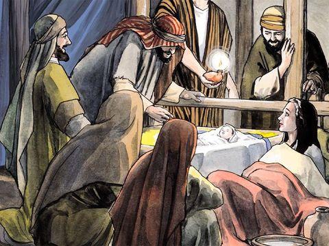 Il y avait dans la même région des bergers qui passaient la nuit dans les champs pour y garder leur troupeau. Les bergers sont avertis par des anges de la naissance de Jésus.