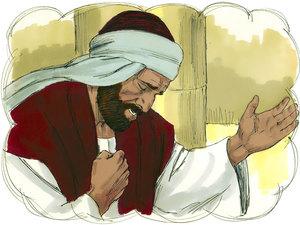 Parabole de la prière du pharisien et du collecteur d'impôts, le collecteur d'impôts baisse les yeux et se frappe la poitrine. Il est humble.