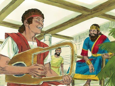 David joue admirablement de la harpe au point qu'il est recommandé au roi Saül qui le prend à son service. Le roi est apaisé par le son de la harpe quand il est tourmenté par le mauvais esprit envoyé par Dieu.