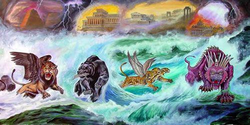 Daniel voit se succéder plusieurs puissances politiques mondiales sous les traits de 4 bêtes énormes qui sortent de la mer. La 1ère ressemble à un lion, la seconde à un ours, la troisième à un léopard et la quatrième est une bête terrible qui écrase tout.