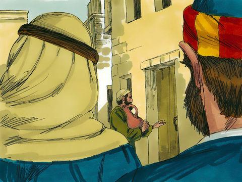 Pierre et Jean recherchent un lieu pour célébrer la dernière Pâque avec Jésus, le 14 nisan.