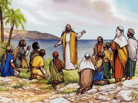 """Les 11 disciples allèrent sur la montagne que Jésus leur avait désignée. Quand ils le virent, ils se prosternèrent [devant lui], mais quelques-uns eurent des doutes. Jésus s'approcha et leur dit: """"Tout pouvoir m'a été donné dans le ciel et sur la terre."""""""