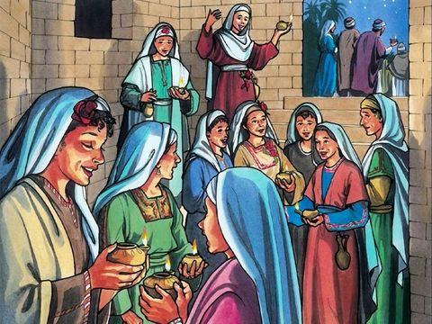 La parabole des 5 jeunes filles sottes et des 5 jeunes filles avisées représentent les chrétiens du premier siècle qui doivent s'unir à Jésus-Christ en tant qu'épouse spirituelle.