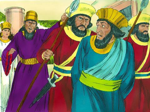 Le jour-même, le roi Assuérus donne la propriété d'Haman, l'adversaire des Juifs, à la reine Esther et il donne son anneau (repris à Haman) à Mardochée, Esther lui a en effet révélé qui est Mardochée pour elle.   La reine nomme son cousin responsable de l
