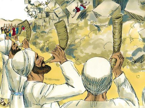 Le 7ème jour, les Israélites doivent faire 7 fois le tour de la ville. Au 7ème tour, en plus du son retentissant des 7 trompettes, tout le peuple pousse de grands cris et les murailles s'écroulent complètement (sauf la maison le Rahab la prostituée).
