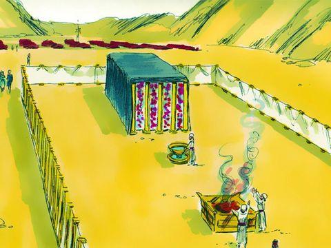 L'autel des holocaustes dans le parvis du Tabernacle a 4 cornes aux 4 angles. Les prêtres y feront brûler les holocaustes et les sacrifices propitiatoires d'animaux (agneau, brebis, mouton, chevreau, chèvre, bouc, taureau, pigeon, tourterelle).