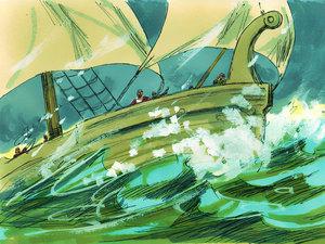 Une tempête se lève, tous ont peur. L'apôtre Paul est prévenu par un ange, aucun membre de l'équipage ne mourra.