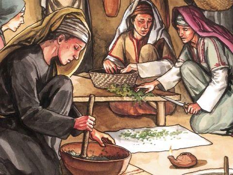 Des femmes qui étaient venues de Galilée avec Jésus accompagnent Joseph et préparent des aromates et des parfums. Le dimanche, elles se rendent au tombeau avec les aromates et les parfums qu'elles ont préparés mais le tombeau est vide. Jésus a ressuscité!