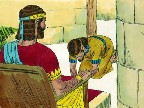 Le fait de tenir les cornes de l'autel symbolise une demande de pardon afin de couvrir ses erreurs: la trahison car Adonijah s'est autoproclamé roi à la place de Salomon. Il se prosterne devant Salomon en signe de soumission.