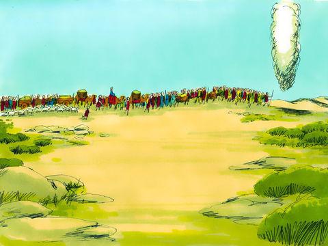 Jéhovah Dieu ou Yahvé ou Yahweh a guidé son peuple à travers le désert. La présence de Dieu était représentée, le jour et la nuit, par une colonne de nuée qui se déplaçait devant eux. La nuit la colonne de nuée avait du feu à l'intérieur.