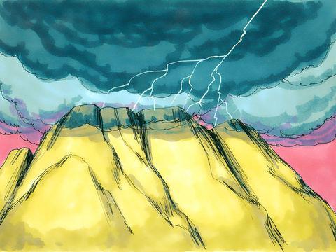 La présence de Jéhovah sur le mont Sinaï. C'est là que pour la première fois Dieu s'est adressé à son peuple après sa sortie d'Egypte afin d'établir avec lui une alliance et lui communiquer la Loi qui allait désormais diriger leur vie.