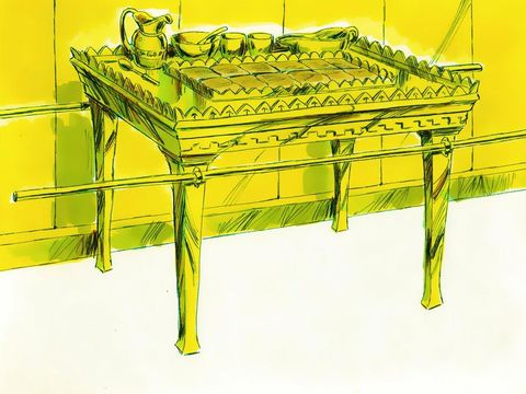La table des offrandes en bois d'acacia avec tous les accessoires en or pur : les plats, les coupes, les bols, les tasses et les carafes qui servent aux libations (rituels d'offrandes liquides). Sur la table, des pains consacrés sont devant Jéhovah.