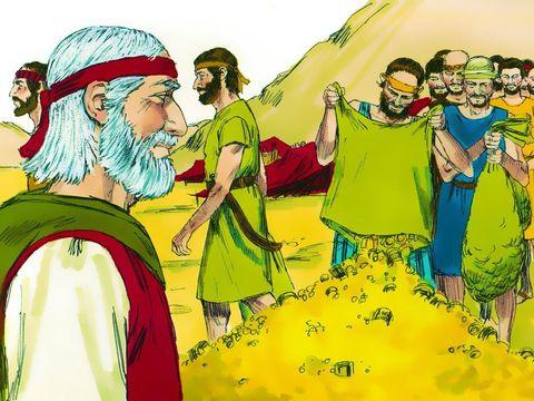Moïse recueille les offrandes volontaires des Israélites afin de construire l'arche de l'alliance qui sera recouverte d'or pur.