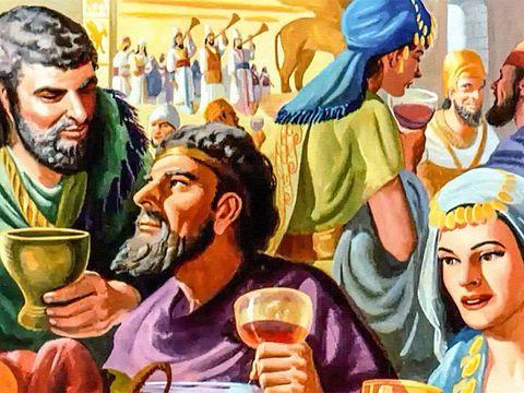 Belshatsar a réuni 1000 de ses hauts-fonctionnaires pour un grand banquet. Le roi et ses invités boivent jusqu'à l'excès et célèbrent leurs faux dieux en argent, en or, en bronze, en fer, en bois et en pierre.