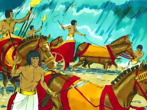 Les chars de pharaon s'engagent dans la mer rouge à la poursuite des Israélites