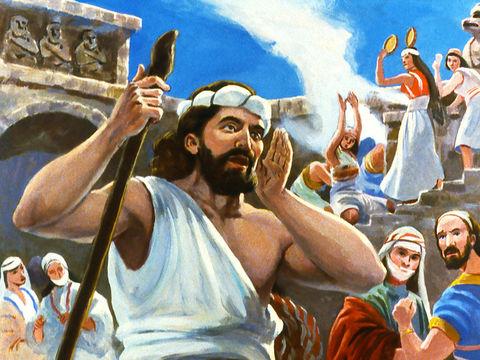 Jonas prévient les habitants de Ninive que dans 40 jours leur ville sera détruite par Dieu.  Jonas s'en alla donc à Ninive, comme Yahvé le lui disait. Or Ninive était une ville extrêmement grande, on la traversait en trois jours.