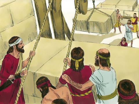 Avant de mourir, le roi David a organisé les travaux et donné de nombreuses instructions. La quantité de matériaux précieux était impressionnante ! 3000 tonnes d'or, 30'000 tonnes d'argent et une énorme quantité de bronze et de fer.