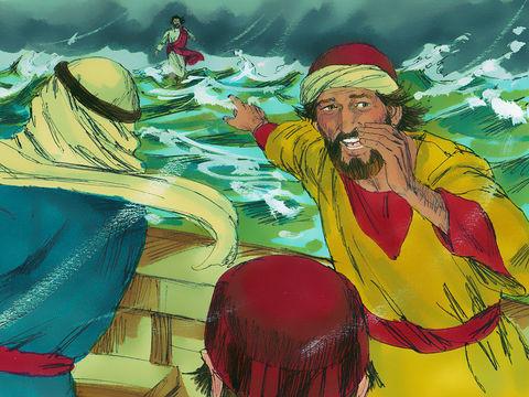 Jésus marche vers eux sur l'eau agitée. Les disciples sont affolés et disent : «C'est un fantôme!»  Pierre tente de le rejoindre mais prend peur et s'enfonce dans la mer. Il est récupéré par Jésus qui lui reproche son manque de foi.