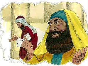 Prière du pharisien orgueilleux qui se croit supérieur aux autres, en particulier, il se croit supérieur au collecteur d'impôts qui prie à l'écart.